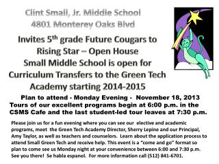 Invites 5 th  grade Future Cougars to Rising Star – Open House