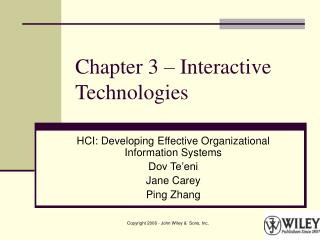 Chapter 3 – Interactive Technologies