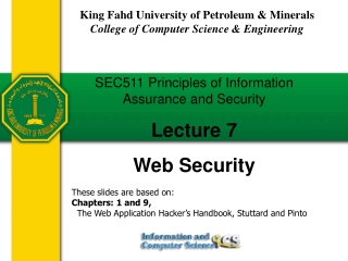 SEC511 Principles of Information Assurance and Security Lecture 7 Web Security