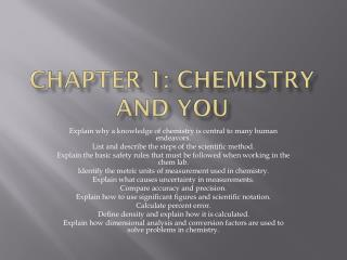 Chapter 1: Chemistry and You