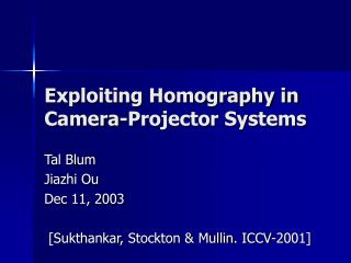 Exploiting Homography in Camera-Projector Systems