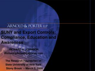 SUNY and Export Controls: Compliance, Education and Awareness