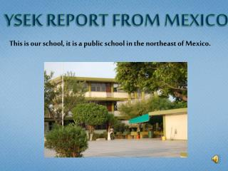 YSEK REPORT FROM MEXICO