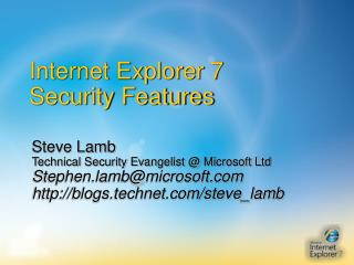 Internet Explorer 7 Security Features