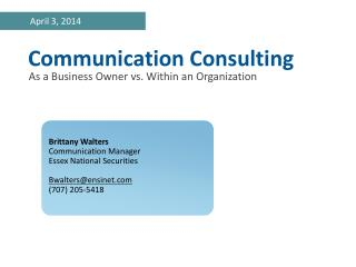 Communication Consulting