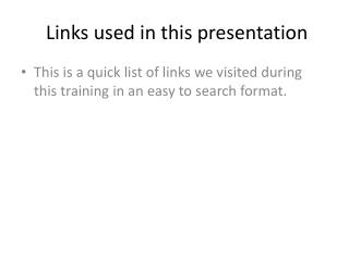 Links used in this presentation