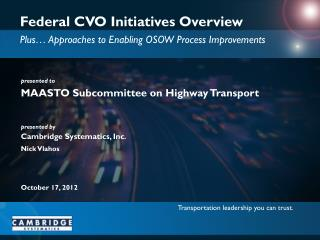 Federal  CVO  Initiatives Overview
