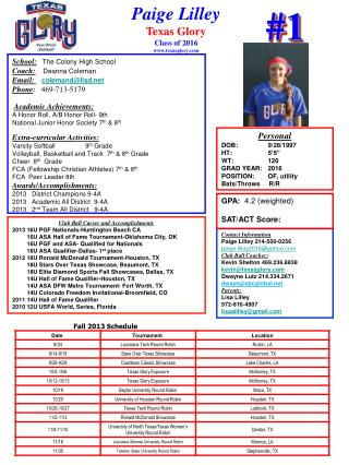 Paige Lilley Texas Glory Class of  2016 texasglory