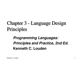 Chapter 3 - Language Design Principles