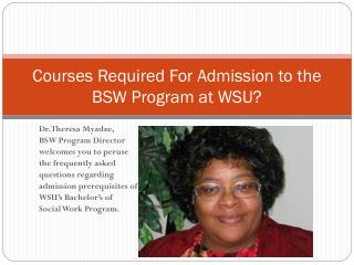 Courses Required For Admission to the BSW Program at WSU?