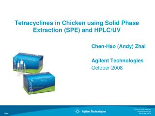 Tetracyclines in Chicken using Solid Phase Extraction (SPE) and HPLC/UV