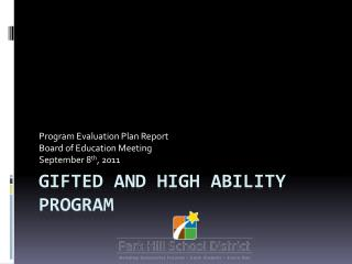 Gifted and High ability program