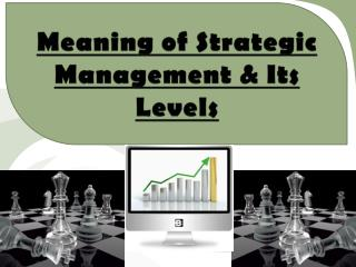 Meaning of Strategic Management & Its Levels