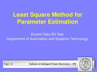 Least Square  Method for Parameter Estimation