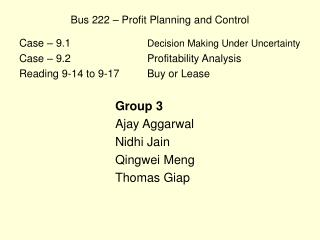 Bus 222 – Profit Planning and Control