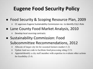 Eugene Food Security Policy