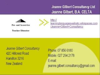 Jeanne  Gilbert Jeanne Gilbert Consultancy In-service Teacher  Educator