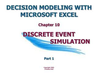DECISION MODELING WITH  MICROSOFT EXCEL