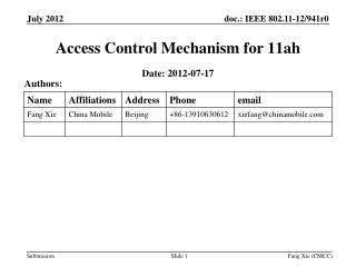 Access Control Mechanism for 11 ah