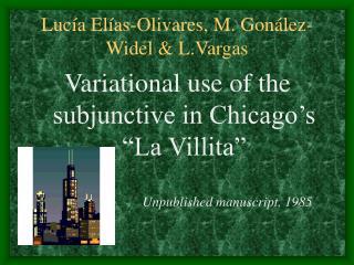 Lucía Elías-Olivares, M. Gonález-Widel & L.Vargas