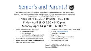 Senior's and Parents!