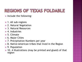 Regions of Texas  FOldable