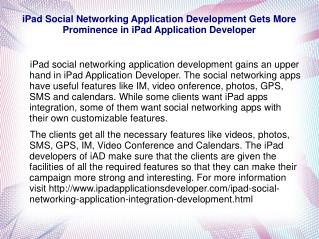 iPad Social Networking Application Development Gets More Pro