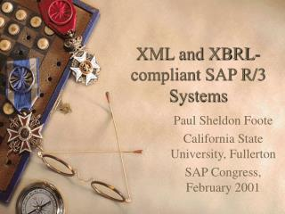XML and XBRL-compliant SAP R/3 Systems
