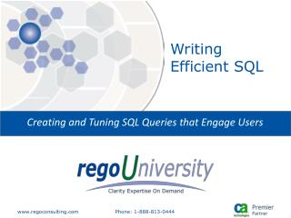 Writing Efficient SQL