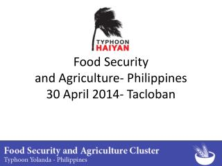 Food Security and Agriculture- Philippines 30 April 2014- Tacloban