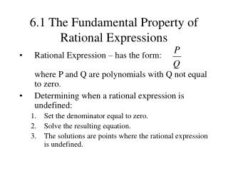 6.1 The Fundamental Property of Rational Expressions