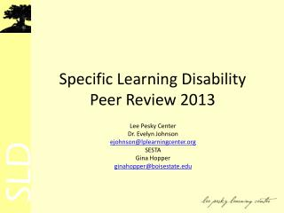 Specific Learning Disability Peer Review 2013