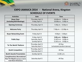 EXPO JAMAICA 2014   -   National Arena, Kingston  SCHEDULE OF EVENTS