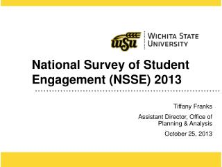 National Survey of Student Engagement (NSSE) 2013