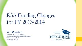 RSA Funding Changes for FY 2013-2014