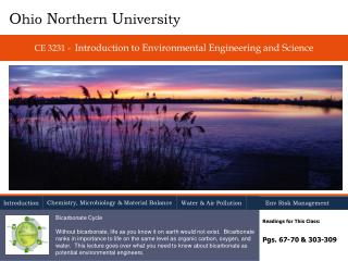 CE 3231 -  Introduction  to Environmental  Engineering and Science