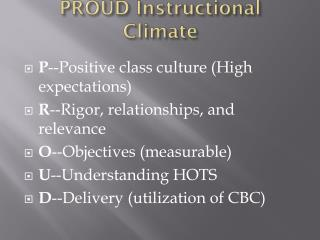 PROUD Instructional Climate
