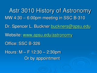 Astr  3010 History of Astronomy