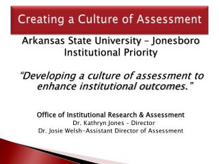 Creating a Culture of Assessment