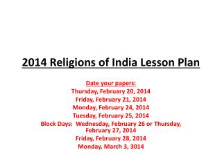 2014 Religions of India Lesson Plan