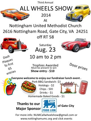 Third  Annual  ALL WHEELS SHOW 2014 At Nottingham United Methodist Church