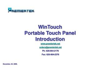 WinTouch Portable Touch  Panel Introduction