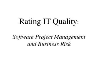 Rating IT Quality:  Software Project Management and Business Risk