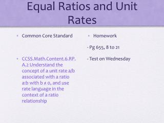 Equal Ratios and Unit Rates