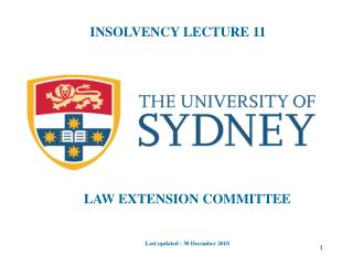 INSOLVENCY LECTURE 11