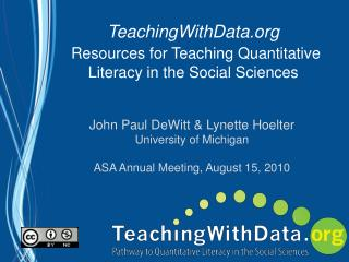 TeachingWithData Resources for Teaching Quantitative Literacy in the Social Sciences