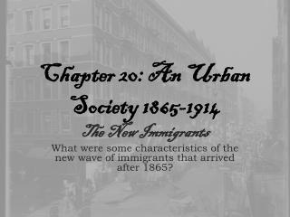 Chapter 20: An Urban Society 1865-1914