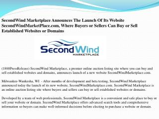 SecondWind Marketplace Announces The Launch Of Its Website S