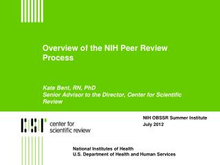 NIH OBSSR Summer Institute  July 2012