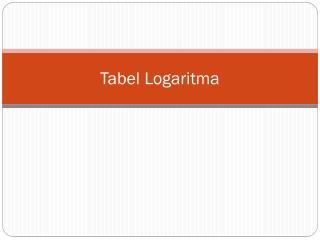 Tabel Logaritma